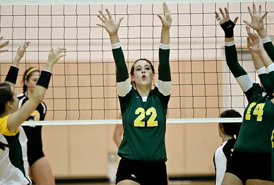 Josh Peckler - Jpeckler@shawmedia.com Crystal Lake South's Kylie Portera celebrates a block against Jacobs during the first set at Jacobs High School Thursday, September 20, 2012. Crystal Lake South won the match in two sets.