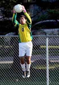 Sarah Nader - snader@shawmedia.com Crystal Lake South's Gus Alvares stops the ball during the second half of Thursday's game against Crystal Lake Central in Crystal Lake on Thursday, September 6, 2012. Crystal Lake South won, 3-2.