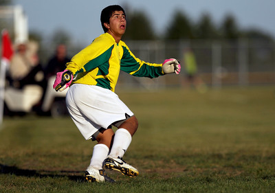Sarah Nader - snader@shawmedia.com Crystal Lake South's Gus Alvares watches the ball during the second half of Thursday's game against Crystal Lake Central in Crystal Lake on Thursday, September 6, 2012. Crystal Lake South won, 3-2.