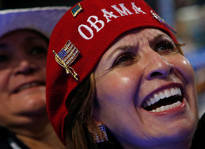New Mexico delegates Priscilla Chavez cheers during the Democratic National Convention in Charlotte, N.C., on Tuesday, Sept. 4, 2012. (AP Photo/Jae C. Hong)