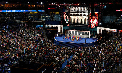House Minority Leader Nancy Pelosi introduces the Democratic women of the House of Representatives during the Democratic National Convention in Charlotte, N.C., on Tuesday, Sept. 4, 2012. (AP Photo/Carolyn Kaster)