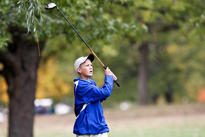 Josh Peckler - Jpeckler@shawmedia.com Dundee Crown's Andrew Livengood watches his shot on the 16th hole during the Fox Valley Conference Boys Golf Meet at Crystal Woods Golf Club in Woodstock Thursday, September 27, 2012.