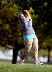 Sarah Nader - snader@shawmedia.com Johnsburg's Symone Seyler watches her ball after teeing off while competing in the Fox Valley Conference girls golf meet at Crystal Woods Golf Club in Woodstock on Tuesday, September 25, 2012.