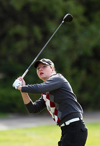 Sarah Nader - snader@shawmedia.com Prairie Ridge's Delainey Peterson watches her ball after teeing off while competing in the Fox Valley Conference girls golf meet at Crystal Woods Golf Club in Woodstock on Tuesday, September 25, 2012.