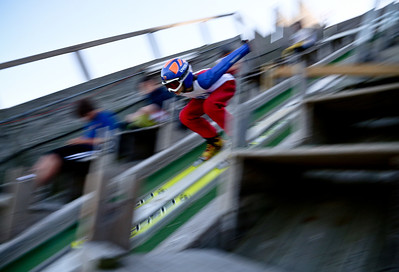 Josh Peckler - Jpeckler@shawmedia.com A skier flies down the ramp during the 27th Annual Norge Summer Ski Jump Tournament in Fox River Grove, Saturday, September 29, 2012.