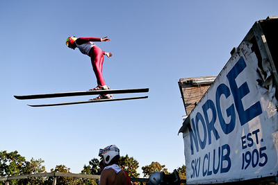 Josh Peckler - Jpeckler@shawmedia.com A skier flies off the launch ramp during the 27th Annual Norge Summer Ski Jump Tournament in Fox River Grove, Saturday, September 29, 2012.