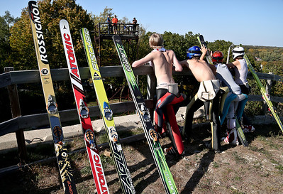 Josh Peckler - Jpeckler@shawmedia.com Skiers talk to judges in a tower as they wait to jump during the 27th Annual Norge Summer Ski Jump Tournament in Fox River Grove, Saturday, September 29, 2012.