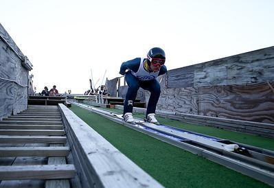 Josh Peckler - Jpeckler@shawmedia.com Michael Glasder prepares to come down the ramp during the 27th Annual Norge Summer Ski Jump Tournament in Fox River Grove, Saturday, September 29, 2012.