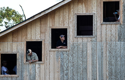 Josh Peckler - Jpeckler@shawmedia.com People watch from a observation tower during the 27th Annual Norge Summer Ski Jump Tournament in Fox River Grove, Saturday, September 29, 2012.
