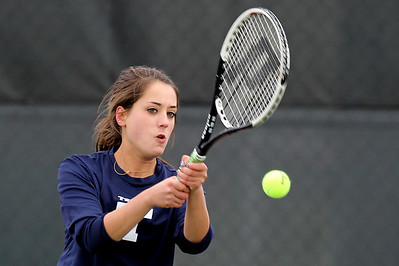 Mike Greene - mgreene@shawmedia.com Cary-Grove's Margaret Gray returns a serve during a first round doubles match against Crystal Lake South in the Cary-Grove Invite. Crystal Lake South won the match 6-0, 6-1. © Northwest Herald