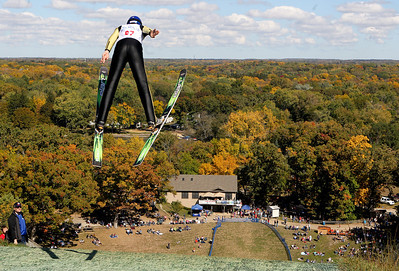 Mike Greene - mgreene@shawmedia.com Ryan Johnson, of the St. Paul Ski Club, takes off during a competition round in Day 2 of the 27th Annual Norge Summer Ski Jump Tournament Sunday, September 30, 2012 in Fox River Grove.
