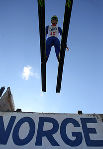 Mike Greene - mgreene@shawmedia.com Ben Loomis, of the Flying Eagles Ski Club, takes off during a competition round in Day 2 of the 27th Annual Norge Summer Ski Jump Tournament Sunday, September 30, 2012 in Fox River Grove.