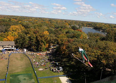 Mike Greene - mgreene@shawmedia.com Volodymr Hlyvka, of the Norge Ski Club, flies through the air while competing in the A Class during Day 2 of the 27th Annual Norge Summer Ski Jump Tournament Sunday, September 30, 2012 in Fox River Grove. Hlyvka won a cash prize during nonsanctioned competition following the days' events.