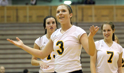 Mike Greene - mgreene@shawmedia.com Jacobs' Alyssa Ehrhardt argues a point during the second set of a conference match against Prairie Ridge Tuesday, September 18, 2012 at Prairie Ridge High School in Crystal Lake. Prairie Ridge (4-0) defeated Jacobs (3-1) in three sets to remain undefeated in the conference.