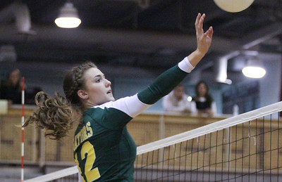 Mike Greene - mgreene@shawmedia.com Crystal Lake South's Nicole Slimko goes up to hit the ball during a match against Prairie Ridge Thursday, September 13, 2012 at Prairie Ridge High School in Crystal Lake. Prairie Ridge came back after losing the first set to win the match.