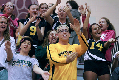 Mike Greene - mgreene@shawmedia.com Crystal Lake South students cheer for their team during a match against Prairie Ridge Thursday, September 13, 2012 at Prairie Ridge High School in Crystal Lake. Prairie Ridge came back after losing the first set to win the match.