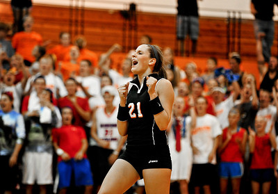 Josh Peckler - Jpeckler@shawmedia.com Crystal Lake Central libero Kassi Dvoracek celebrates a point against Prairie Ridge Tuesday, September 11, 2012 at Crystal Lake Central. Prairie Ridge defeated Central 2-0.