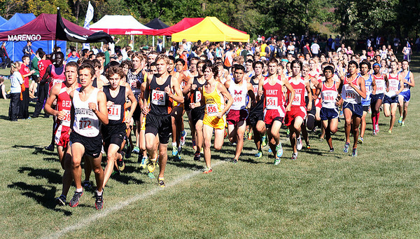 Jeff Krage – For the Kane County Chronicle<br /> The start of the varsity boys race during Saturday's Eddington Invitational at the Elburn Forest Preserve.<br /> Elburn 9/15/12