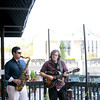 Jazz saxophonist Chris Madsen (left) and jazz guitarist Tim Fitzgerald play on the patio of Bistro One West Thursday evening as part of the St. Charles Jazz Weekend sponsored by the St. Charles Downtown Partnership.(Sandy Bressner Photo)