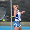 St. Charles North's Faith Oehlerking during her No. 1 doubles match with teammate Ashley Randazzo (not pictured) against St. Charles East Tuesday at St. Charles North.(Sandy Bressner Photo)
