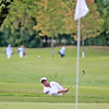 Max Kelly of St. Charles East hits onto the 16th green during the Upstate Eight Conference River Division golf meet Wednesday morning at St. Andrew's Golf and Country Club in West Chicago.