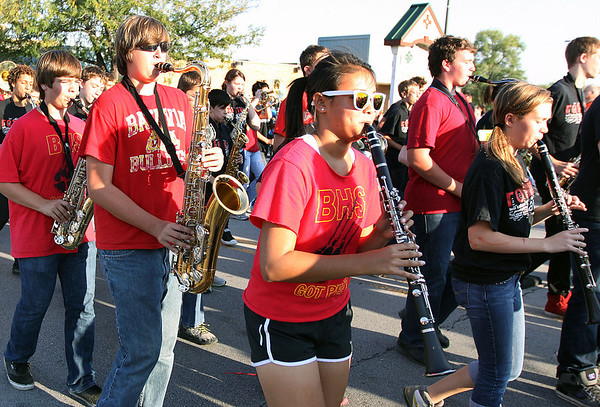 The Batavia High School marching band performs during Wednesday's homecoming parade.<br />  (Jeff Krage photo for the Kane County Chronicle)