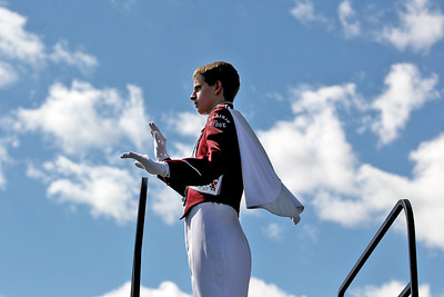 Sarah Nader - snader@shawmedia.com Prairie Ridge's drum major Joseph Schneider directs the marching band while performing at the 5th annual McHenry High School Marching Band Festival at McCracken Field in McHenry on Saturday, September 8, 2012.