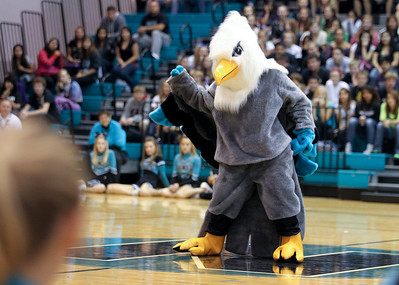 "Mike Greene - mgreene@shawmedia.com Woodstock North High School's new mascot 'Thunderbird' performs during a homecoming pep rally Friday, September 21, 2012 in Woodstock. Woodstock North will host events throughout next week with the theme ""A Night in the City,"" culminating in a homecoming football game against Dundee-Crown Friday, September 28."