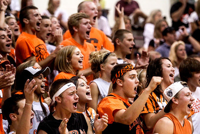 Sarah Nader -  snader@shawmedia.com Crystal Lake Central fans cheer on the girls volleyball team during Tuesday's game against Prairie Ridge in Crystal Lake September. 3, 2013. Crystal Lake Central won, 2-0.