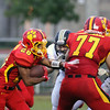 Jeff Krage – For Shaw Media<br /> Batavia running back Anthony Scaccia carries the football during Saturday's game against visiting Glenbard North. <br /> Batavia 8/31/13