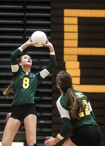 Sarah Nader -  snader@shawmedia.com Crystal Lake South's Cassy Sivesind sets the ball during Thursday's volleyball match against Jacobs at Jacobs High School September 5, 2013. Crystal Lake South won, 2-0.