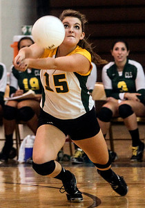 Sarah Nader -  snader@shawmedia.com Crystal Lake South's Hannah Wilson dives for the ball during Thursday's volleyball match against Jacobs at Jacobs High School September 5, 2013. Crystal Lake South won, 2-0.