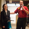 Jim Kirkhoff  co-founder of Water Street Studios presents Sarah Kimes with The Volunteer of the year award at Water Street Studios in Batavia, IL on Saturday, September 07, 2013 (Sean King for Shaw Media)