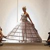 Model Claire Sychta from Batavia, IL is wearing a Greek inspired Wedding dress with a metal cage and chair inside created by Claire's mother Sharon Sychta at Water Street Studios in Batavia, IL on Saturday, September 07, 2013 (Sean King for Shaw Media)