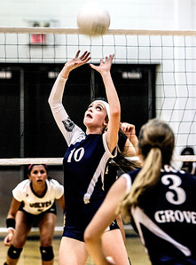 Sarah Nader -  snader@shawmedia.com Cary-Grove's Meghan Seymour sets the ball during Tuesday's volleyball match against Prairie Ridge in Cary September 10, 2013. Cary-Grove won, 2-1.