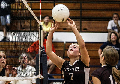 Sarah Nader -  snader@shawmedia.com Prairie Ridge's Taylor Otto sets the ball during Tuesday's volleyball match against Cary-Grove in Cary September 10, 2013. Cary-Grove won, 2-1.