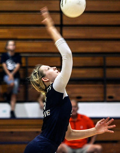 Sarah Nader -  snader@shawmedia.com Cary-Grove's Abby Schebel returns the ball during Tuesday's volleyball match against Prairie Ridge in Cary September 10, 2013. Cary-Grove won, 2-1.