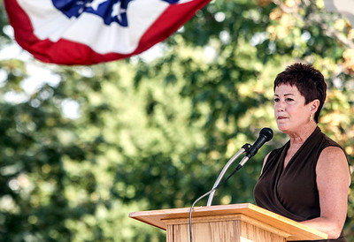 Sarah Nader -  snader@shawmedia.com Mayor Susan Low speaks during a commemoration at Veterans Memorial Park in McHenry Wednesday, September 11, 2013 to honor those lost in the Sept. 11 terrorist attacks.