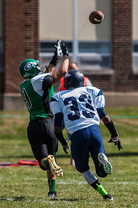 Kyle Grillot - kgrillot@shawmedia.com   Alden-Hebron senior Avi Mor fails to bring in a catch under the defense of freshman Angelo Patterson during the first quarter of the football game against Chicago Hope at Alden-Hebron Saturday, September 14, 2013. Alden-Hebron lost to Chicago Hope 31-21.