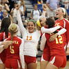 Jeff Krage – For Shaw Media<br /> Batavia volleyball players celebrate their 3-set victory Tuesday at Geneva High School.<br /> Geneva 9/17/13