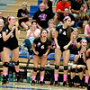 The St. Charles East bench gets off their feet during the final game of their 25-17, 23-25, 25-22 loss to St. Charles North Tuesday night.