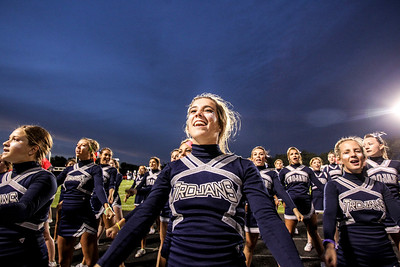 Sarah Nader- snader@shawmedia.com Cary-Grove cheerleader Mikayla Neckvatal cheers with her squad before Friday's football game against Dundee-Crown In Cary September 20, 2013. Cary-Grove defeated Dundee-Crown, 34-0.