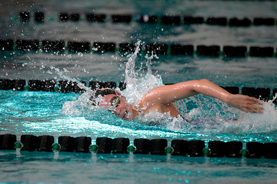 Kyle Grillot kgrillot@shawmedia.com  Jacobs Nicole Sanchez competes in the 400-yard relay during the Woodstock North girls swimming invite Saturday, September 21, 2013.