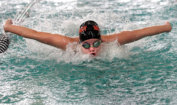 Kyle Grillot kgrillot@shawmedia.com  McHenry's Michaela Matthys competes in the 100-yard butterfly race during the Woodstock North girls swimming invite Saturday, September 21, 2013.