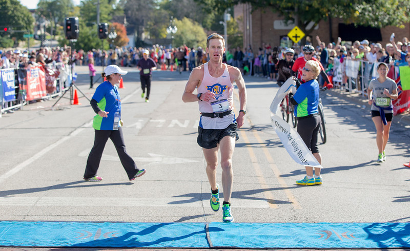 Jeff Kelly of Urbana, IL was male to cross the line at The Fox Valley Marathon in St. Charles, IL on Sunday, September 22, 2013 (Sean King for Shaw Media)