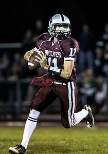 Sarah Nader- snader@shawmedia.com Prairie Ridge's quarterback Luke Annen throws a pass during the second quarter of Friday's game against Cary-Grove September 27, 2013. Cary-Grove defeated Prairie Ridge, 6-0.