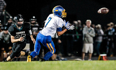 Kyle Grillot - kgrillot@shawmedia.com   Johnsburg senior Alec Graef watches as a ball flies towards him during the second quarter of  high school football game at Woodstock North High School Friday, September 27, 2013. Johnsburg won the game, ending a 25 game losing streak.