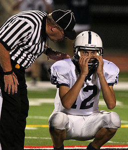 H. Rick Bamman - hbamman@shawmedia.com Cary-Grove's Jason Gregoire reacts as an official explains an illegal block penalty against the Trojans early in the fourth quarter.