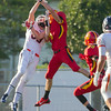 Batavia Cornerback Eddie Golden (8) breaks up a pass attempt to Oswego Joseph Hennessy (83) at Batavia High School in Batavia, IL on Saturday, August 30, 2014 (Sean King for Shaw Media)