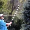 Jeff Krage – For Shaw Media<br /> Geneva's Matt Fisher watches one of his fairway shots during Wednesday's match against Batavia at the Fox Valley Golf Club in North Aurora.<br /> North Aurora 9/10/14